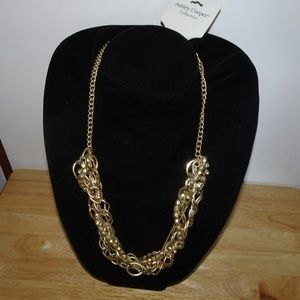 Ashley Cooper Rhinestone Twist Gold Tone Necklace